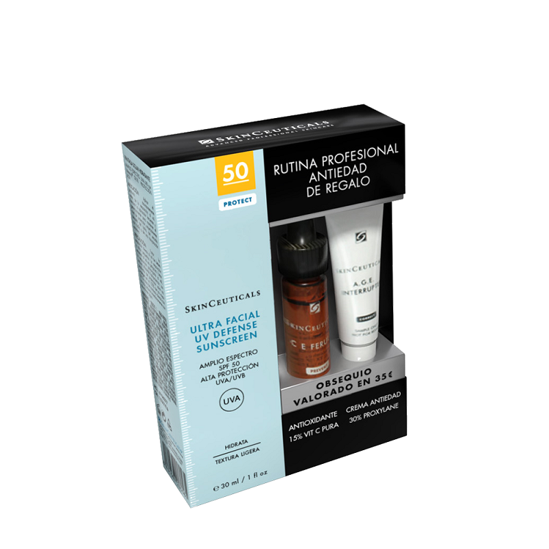 SKINCEUTICALS ULTRA FACIAL DEFENSE SPF 50 30 ML + REGALO( CE FELURIC+ AGE INTERRUPTER, 10 ML)